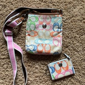 Coach crossbody bag with matching small wallet